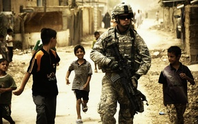 Wallpaper war, uniforms, children, Soldiers