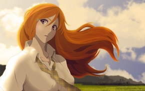 Picture the sky, mountains, ART, Anime, Bleach, Inoue Orihime