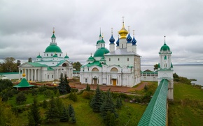 Picture wall, yard, columns, cross, Cathedral, ROSTOV, the dome, the sky, the Kremlin, river
