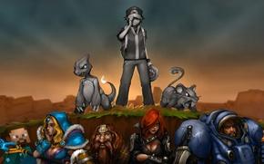 Picture crossover, minecraft, Pokemon, StarCraft, Jim Raynor, characters, Charmeleon, Rattata, Ash Ketchum