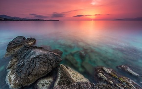 Picture dawn, coast, horizon, sunrise, Creta