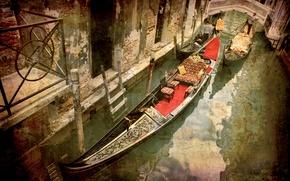 Picture Italy, Venice, channel, the bridge, gondola, grunge, grunge