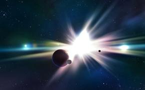 Picture stars, lights, planet, flash, satellites