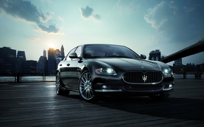 Wallpaper the sun, morning, Maserati, New York, Quattroporte Sport GT S