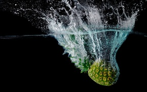 Picture water, macro, squirt, fruit, pineapple, black background