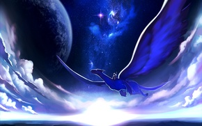 Picture the sky, stars, clouds, flight, night, dragon, planet, art, rider