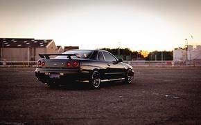 Picture Nissan, black, skyline, gtr, r34, railroad