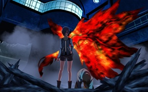 Picture girl, blood, game, monster, anime, wings, red eyes, pretty, predator, assassin, asian, Ken, cute, manga, …
