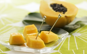 Wallpaper pieces, slices, tropical fruits, papaya, skewers