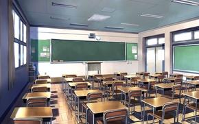 Picture light, art, class, Board, school, desks, empty, day, School interior