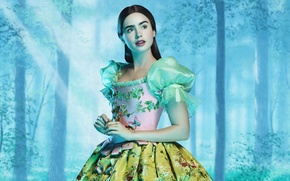 Picture forest, apple, Apple, tale, Mirror, forest, Princess, movie, Snow white, princess, Lily Collins, mirror on …