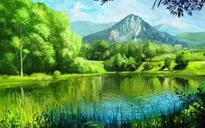 Picture summer, grass, trees, mountains, nature, lake, art, painting, green