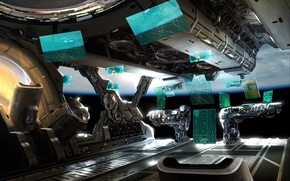 Wallpaper space, interface, ship, planet, management, art, Mark Yang, compartment