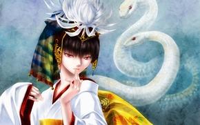 Wallpaper snakes, girl, nerisu, smile, dance, art
