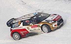 Picture Winter, Snow, Citroen, Citroen, DS3, WRC, Rally, Total, M. Hirvonen, J. Lehtinen