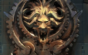 Picture mouth, gear, horns, emblem, Guild Wars 2, teeth