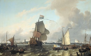Wallpaper picture, Ludolf Bakhuizen, seascape, The warship Brielle on the Maas River in Rotterdam