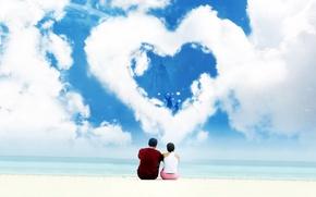 Wallpaper pair, heart, love, Clouds
