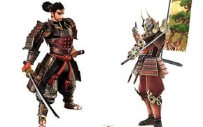 Picture skull, katana, armor, mask, samurai, white background, horns, Soul Calibur, banner, Yoshimitsu, Heishiro Mitsurugi