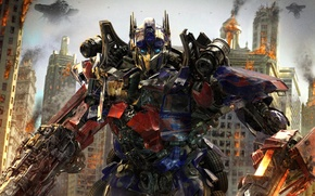 Wallpaper weapons, the movie, Optimus Prime, Optimus Prime, battle, Transformers 3, Michael Bay, the city, Michael ...