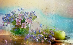 Picture water, flowers, plate, vase, still life, forget-me-nots, still life, kosmeya, Apple