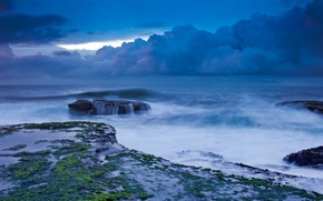 Picture the sky, clouds, storm, the ocean, stone