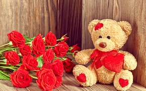 Picture love, gift, roses, bear, love, bear, heart, romantic, Valentine's Day, Teddy