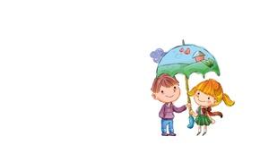 Picture umbrella, background, boy, art, friendship, girl