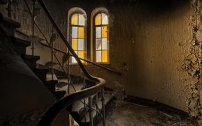 Wallpaper wall, ladder, window