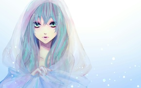 Wallpaper hatsune miku, snow, Vocaloid, hood, Cape, face, figure, girl, vocaloid