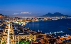 Picture sea, the sky, clouds, lights, boats, Italy, twilight, cars, harbour, Naples, Vesuvius
