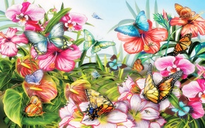 Picture leaves, flowers, nature, butterfly, moth