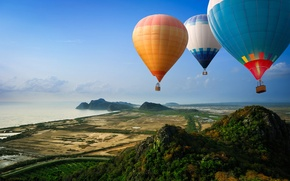 Picture road, sea, mountains, balloons, hills, shore, view