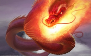 Picture Dragon, Fire, CG Wallpapers, Steve Argyle, Fire Dragon, Snakes