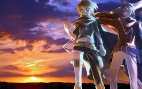 Picture weapons, Vocaloid, guys, Len Kagamine, bandage, Kaito, the sun, the sky, vocaloid, sunset