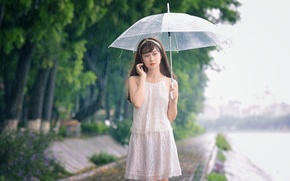 Picture girl, drops, face, umbrella, rain, walk, East