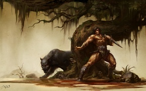 Picture cat, weapons, tree, monster, Panther, warrior, art, dagger, male, wild, sneaks, barbarian