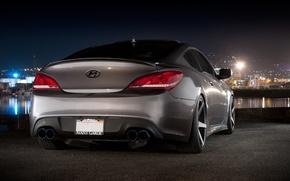 Picture Auto, Port, Night, Machine, Hyundai, Coupe, Back, Genesis