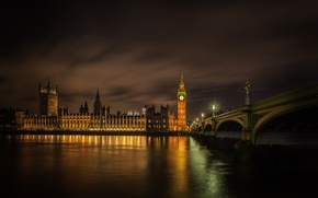 Picture night, bridge, lights, London, Thames, Westminster
