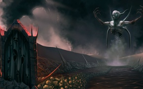 Picture road, smoke, bones, skeleton, horns, skull, Hell, the devil, the gates, Diablo III