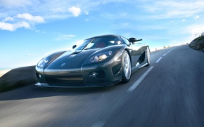 Wallpaper The sky, Road, Speed, Carbon, Koenigsegg CCX