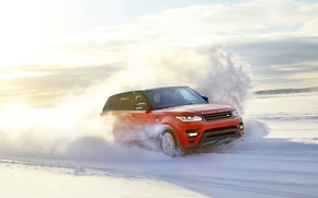 Picture The sun, Red, Winter, Snow, Speed, Day, Land Rover, Range Rover, Sport, In Motion