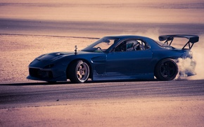 Picture drift, drift, blue, mazda, rx7, Mazda, side