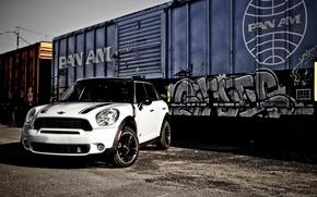 Picture white, wheels, black, mini, train, mini cooper