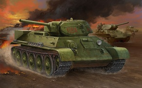 Picture war, art, painting, tank, ww2, T-34-1942