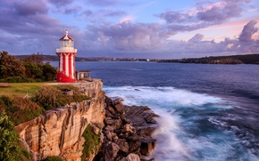 Picture sea, the sky, clouds, the city, stones, rocks, coast, lighthouse, the evening, Australia, Sydney, Hornby …