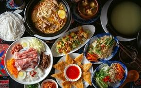Picture soup, meat, vegetables, sauce, meals, cuts, noodles