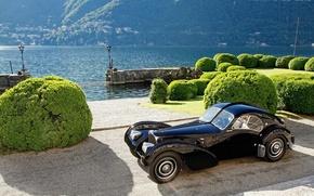 Picture retro, Italy, classic, promenade, the bushes, Italy, 1938, lake Como, Lombardy, Como, Como, Lombardy, Bugatti …