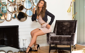 Wallpaper pose, reflection, room, model, interior, chair, makeup, figure, dress, hairstyle, shoes, fireplace, brown hair, legs, ...