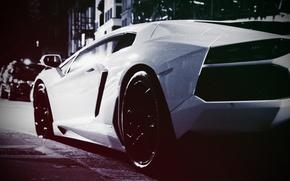Wallpaper Street, Lamborghini Aventador, Vintage, White Monster, Lamborghini Aventador